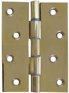 Hinges - Polished & Laquered Brass Hinge Double Stainless Steel Washered